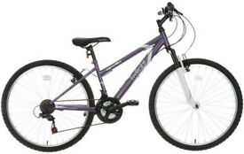 Mountain bike with helmet (Apollo Twilight Women's Mountain Bike)