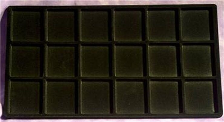 LOT OF 6  18 COMPARTMENT TRAY INSERTS FLOCKED