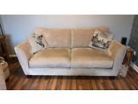 Beige Fabric x2 3 seater sofas & footstool