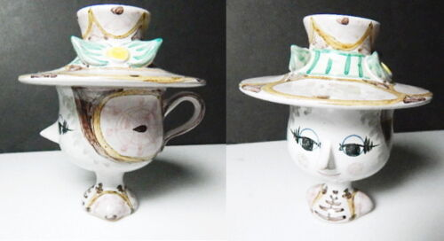 Bjorn Wiinblad Figural COVERED Head Cup with Hat Lid, Mint
