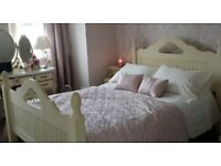 Cream Wooden Double Bed