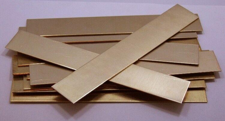 """Raw Brass Sheet, Bracelet Cuff Blanks 6"""" x  1"""" 16ga Package Of 12"""