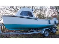Open Work Boat with 8HP Honda Outboard and Trailer with Spare wheel