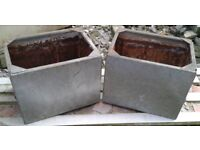2 x matching reclaimed galvanised water tanks - ideal for plant pots / troughs