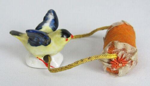 Vintage Miniature Porcelain Bird Drip Catcher Half Doll Pin Cushion