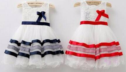 Soft Lace Layered Dress - Red or Navy Ribbon - Christmas Xmas Helensvale Gold Coast North Preview