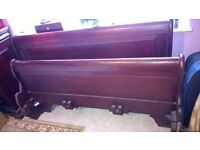 Solid Mahogany Wood King Size Sliegh Bed & Matching Chest of Draws