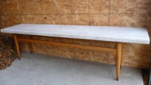 Slab Marble Coffee Table with Wooden Base