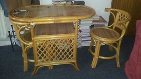 Small Bamboo table and two chairs for children room