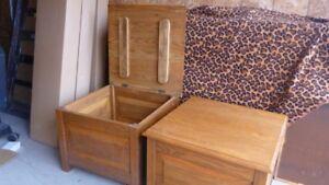 END TABLES Blanket/Storage Units, SOLID WOOD