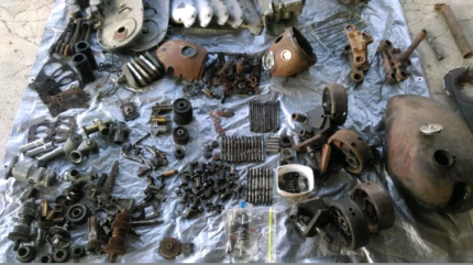 Vintage Triumph motorcycle parts 3T prices vary or take the lot.