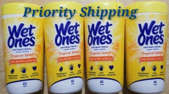 Lot of 4 Containers Cleaning 99% Tropical Splash 40 Count 160 Total Exp 08/22