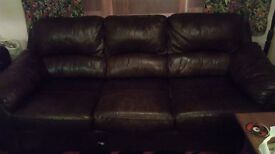 Chocolate leather 3 person sofa