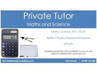 Private Tutor - Maths & Science (Prices from £25 p/h)