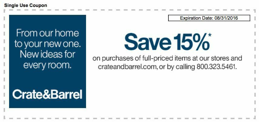 Crate Barrel Coupons For Sale Ebay