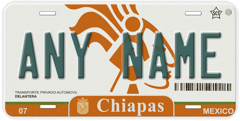 Chiapas Mexico Any Name Personalized Car Auto Novelty License Plate C02