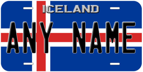 Iceland Flag Aluminum Any Text Novelty Car License Plate