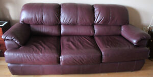 Burgundy leather sofa 3-seater in excellent condition $250