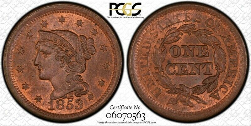 1853 Newcomb 13 1C PCGS MS64RB 1 Large Cent One Penny Cents 🔥