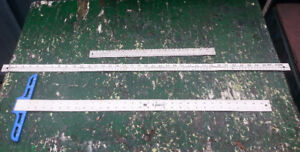 3 LONG Metal Rulers. WestCott, M Lance and BenchMark