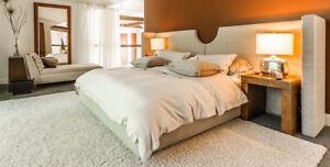 Set de chambre (lit King, table de nuit, récamier)