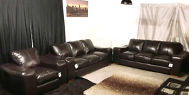 !! Dfs new ex display brown real leather 3+3 seater sofas with chair