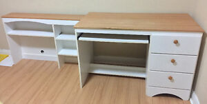 Study desk with 3 drawers + book shelf + folding chair