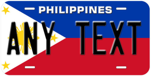 Philippines Flag Any Text Personalized Novelty Car License Plate