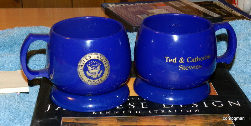 POLITICAL TED STEVENS SENATOR ALASKA U.S. SENATE COFFEE CUPS & COASTERS