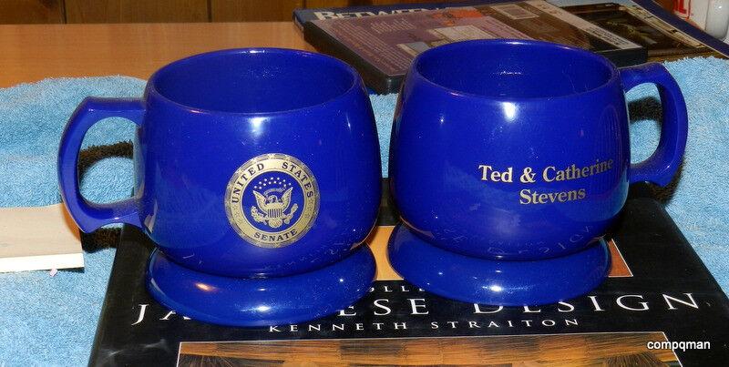 CATHERINE & TED STEVENS SENATOR ALASKA U.S. SENATE COFFEE CUPS & COASTERS