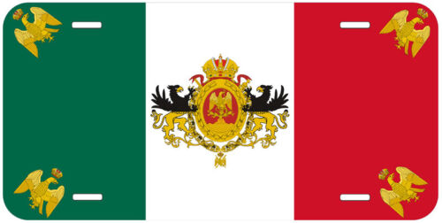 Mexican Empire Flag 1864-67 Aluminum Novelty Car License Plate