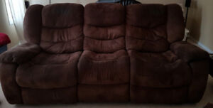 Brown Suede Reclining Couch