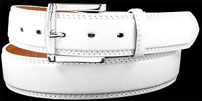 MEN WHITE LEATHER STITCHED BELT with FREE REMOVABLE BUCKLE – S M L XL Belts