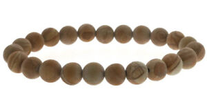 Wood Jasper Matte Round Bead Stretch Bracelet - 8mm
