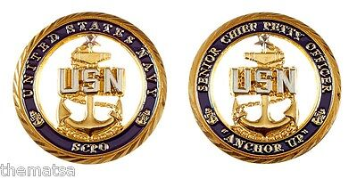 """SENIOR CHIEF PETTY OFFICER SCPO NAVY ANCHOR UP 1.75"""" CHALLENGE COIN"""
