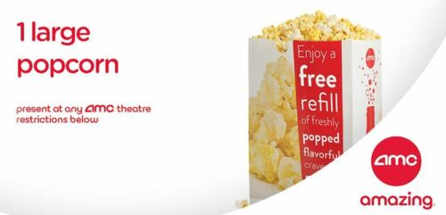 1 AMC Large Popcorn | 1 AMC Large Drink -  eDelivery - Exp 12/31/2020