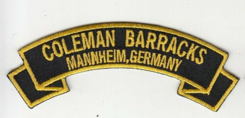 "Coleman Barracks, Mannheim Germany embroidered 4"" scroll tab patch"