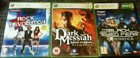 Xbox 360 GAMES £5 EACH - ROCK REVOLUTION - DARK MESSIAH - BLACK EYED PEAS -
