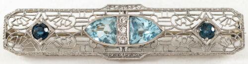 Art Deco Double Aqua & Diamond 14K White Gold  Bar Pin Brooch Estate
