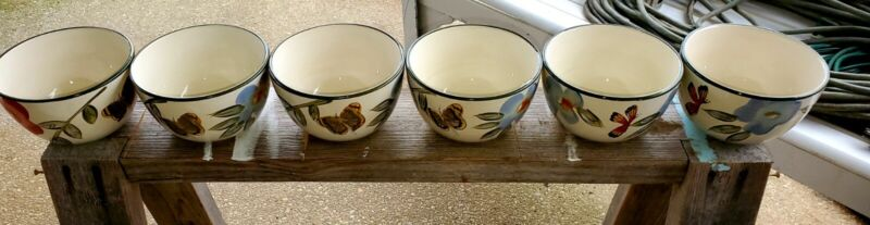 Pfaltzgraff Studio Butterfly Botanical Set Of 6 Soup Pasta Cereal 😋 Bowls 6""