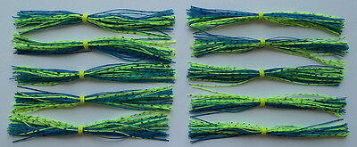 """-Bass Fishing-/""""NEW/"""" 10 Custom Made Silicone Spinnerbait Skirts- Black//Blue//Chart"""