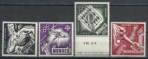 Monaco-stamps-1953-YV-Airmail-51-54-MNH-VF