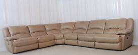 Beige Leather 6 Piece corner sofa (50) £999