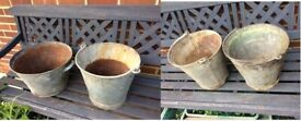 4x vintage rusty buckets / planters