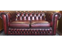 Genuine leather Oxblood Chesterfield 2 seater sofa