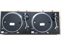 2 X Technics SL-1210 MK2 Turntable With Custom Black Leather Covers