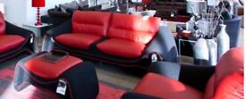Designer Bluetooth sofology red leather and charcoal cashmere sofa +2 chairs and foot stool