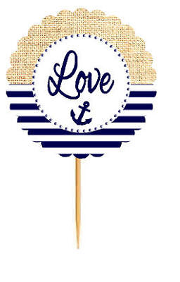 Love Nautical Anchor  Rustic Burlap Wedding Cupcake Decoration Toppers -12ct