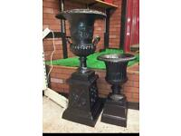 Cast iron garden urns 2 sizes available