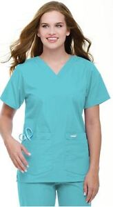 NEW Landau 8219 AQUA BLUE Medium Women's V-Neck Tunic Uniform Scrub Top